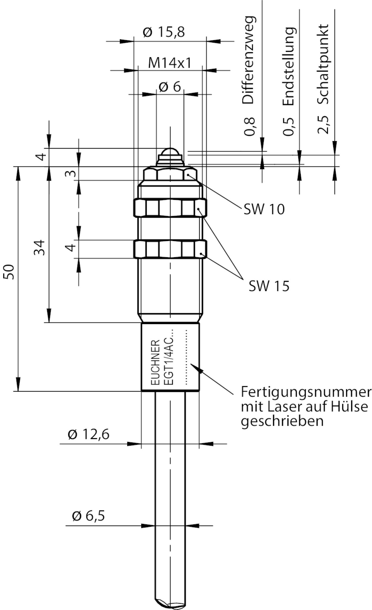 EGT14A2000C2079 Precision single hole fixing limit switch