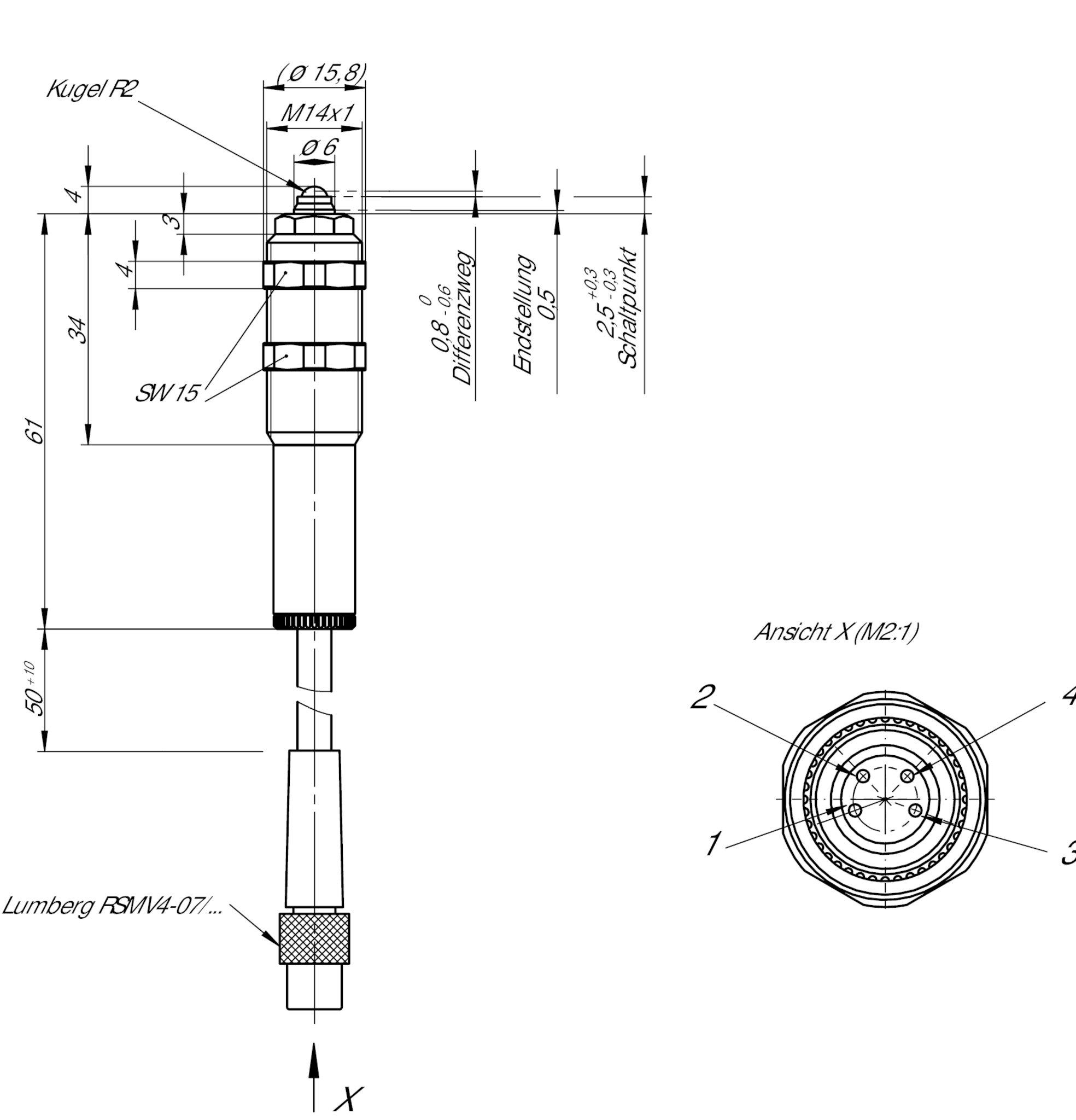 EGT11R2N50SAM4 Precision single hole fixing limit switch