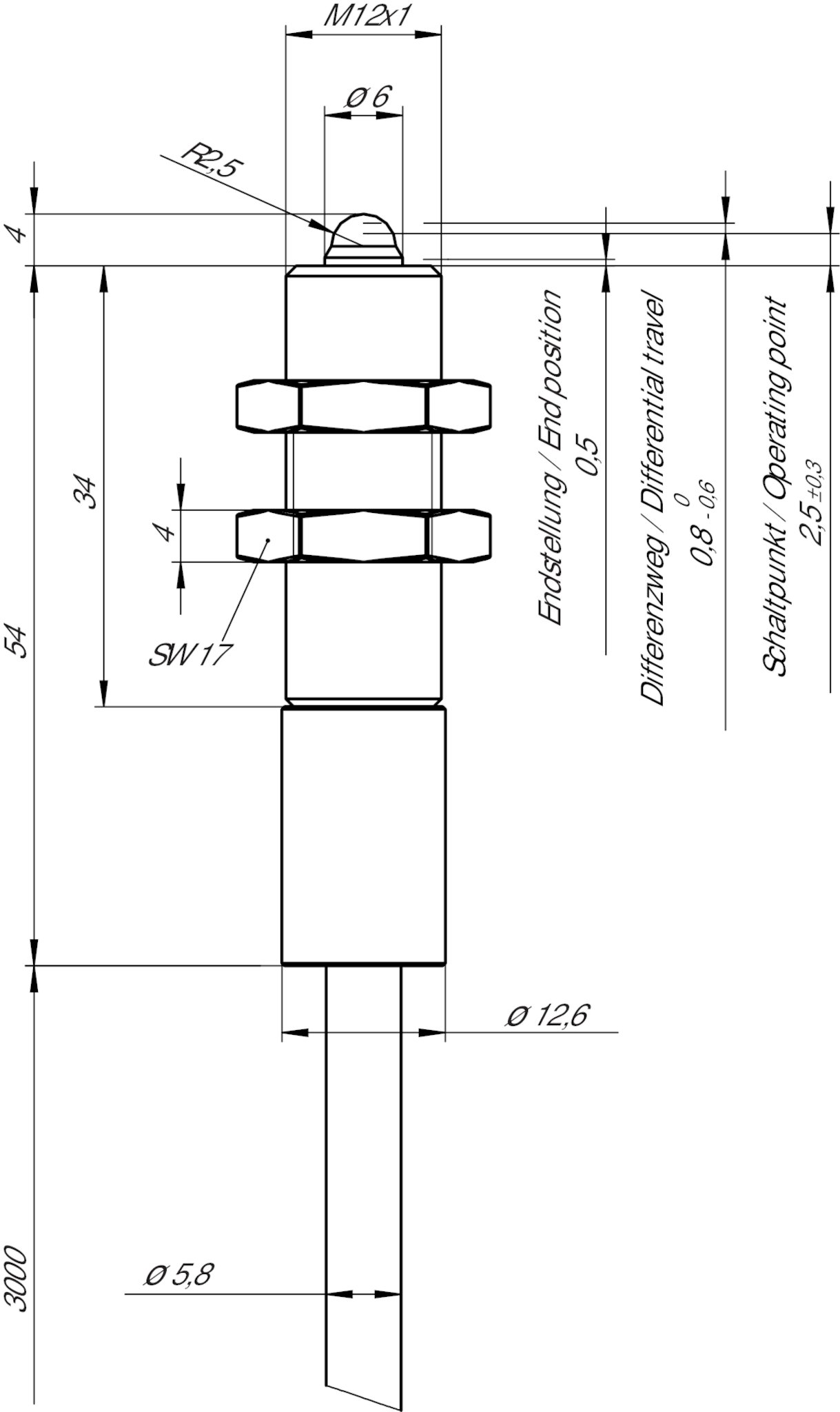 Egt12a3000c2250 Precision Single Hole Fixing Limit Switch