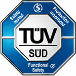 Zulassung TÜV Süd, BMPB mit ZG: Safety tested, Production monitored, Functional Safety