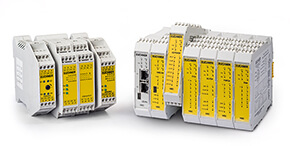 Safety relays, control systems and filter module
